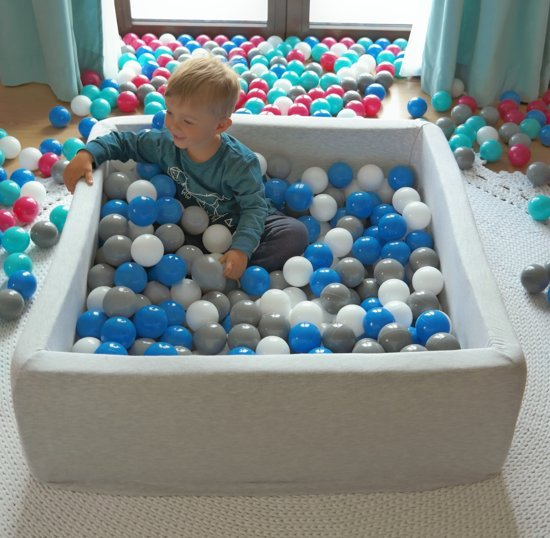 Zachte Jersey baby kinderen Ballenbak met 300 ballen, 90x90 cm - zwart, wit, grijs