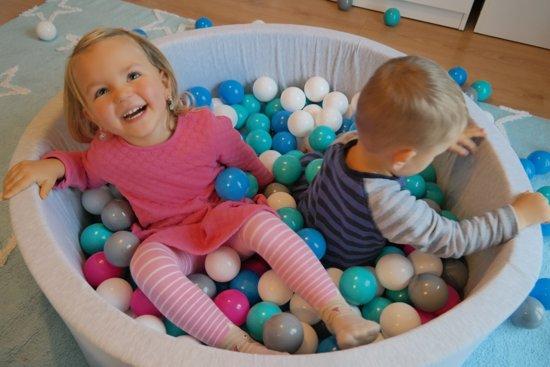 Ballenbad - stevige ballenbak - 90 x 30 cm - 300 ballen Ø 7 cm - wit blauw grijs