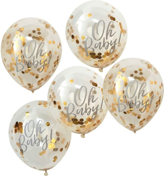 Ginger Ray Oh Baby! - Ballon gevuld met gouden confetti Ø 28 cm - Set-5 Valentinaa