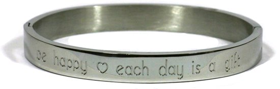 Chique - stalen bangle - brede 8mm bangle RVS - be happy, every day is a gift - 60 mm