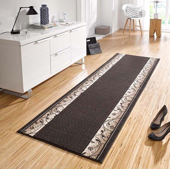 Design loper Plant - donker bruin 80x500 cm
