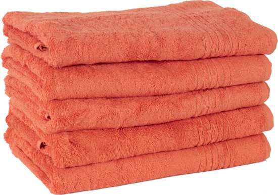 3 Stuks Zalm Rode Bamboe Handdoek 50x100 cm 600Gr m²