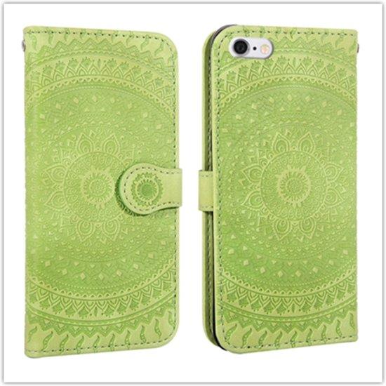 Let op type!! Voor iPhone 6 ingedrukt afdrukken patroon horizontale Flip PU lederen draagtas  met houder & kaartsleuven & portemonnee & & Lanyard (groen)