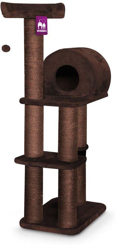 Petrebels krabpaal sweet petite palace 138 fuzzy brown 60cm x 40cm x 138cm