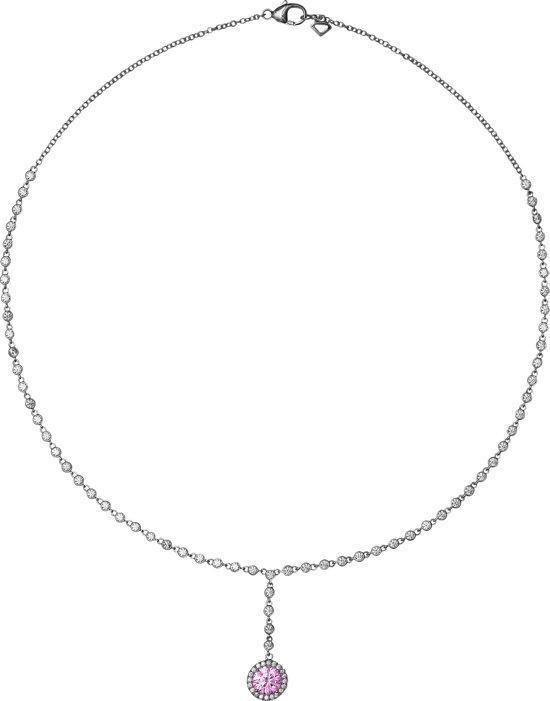 Diamonfire - Zilveren collier met hanger 43 cm - Rond - Roze steen