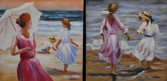 Tweeluik 60x60cm Kinderen op het strand