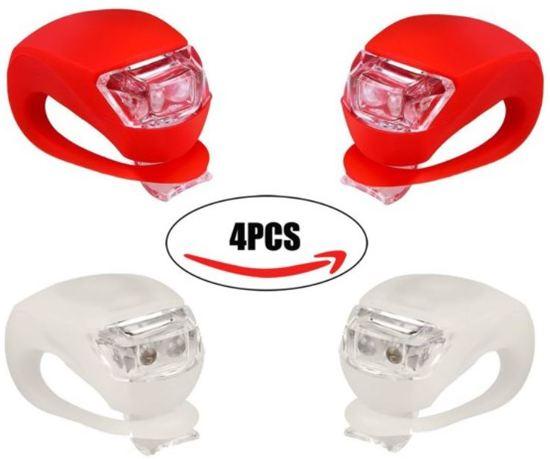 LifeGoods Siliconen LED Fiets Lampjes 2 Sets - Verlichtingsset - Achterlicht - Voorlicht - Koplamp - Rood - Wit