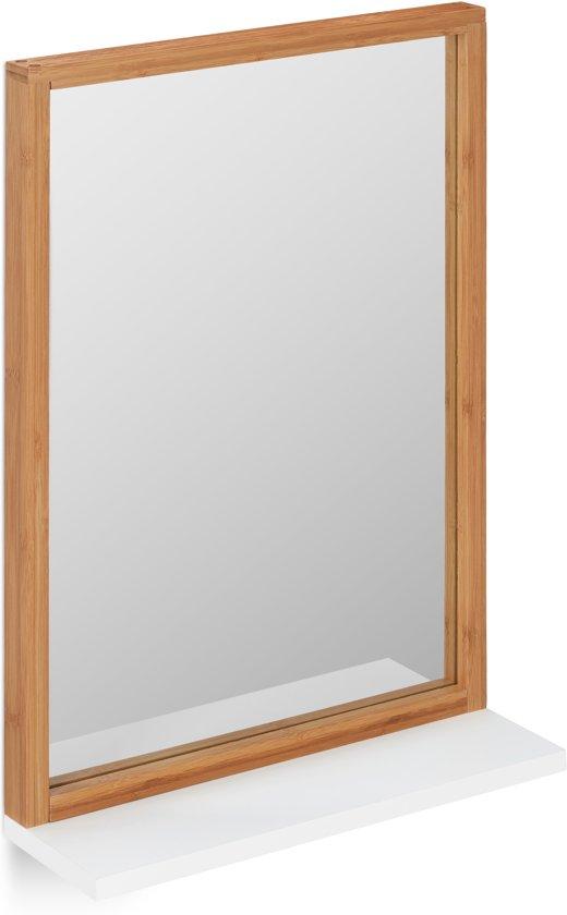 relaxdays wandspiegel rechthoek - spiegel met plankje - badkamerspiegel - bamboe - MDF