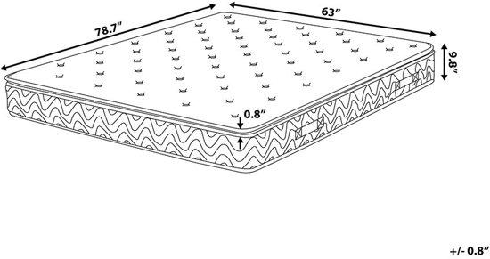 Beliani Joy Pocketverenmatras Grijs Schuim 160 x 200 cm
