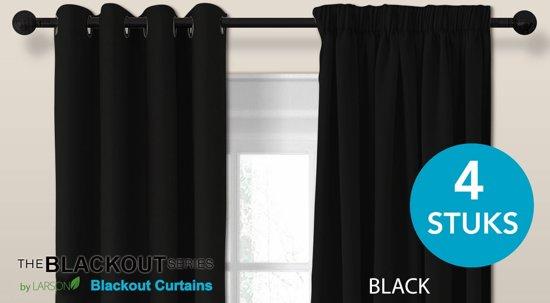 luxe blackout gordijn met haak zwart 3x25m verduisterend kant en klaar