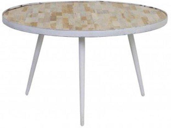 Bol.com salontafel tafel hout antiek wit rond 74x40cm