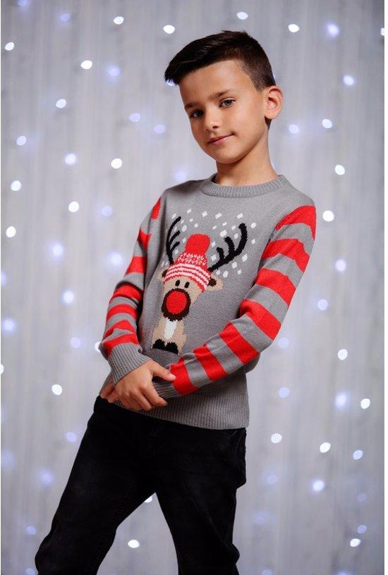 Jongens Kersttrui Rendier - Grijs - Maat 128/134