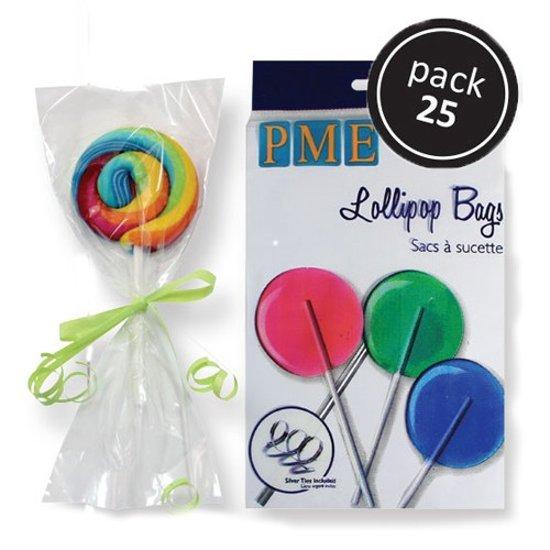 PME Lollipop zakjes met zilveren strikjes 15x9,5cm 25st.
