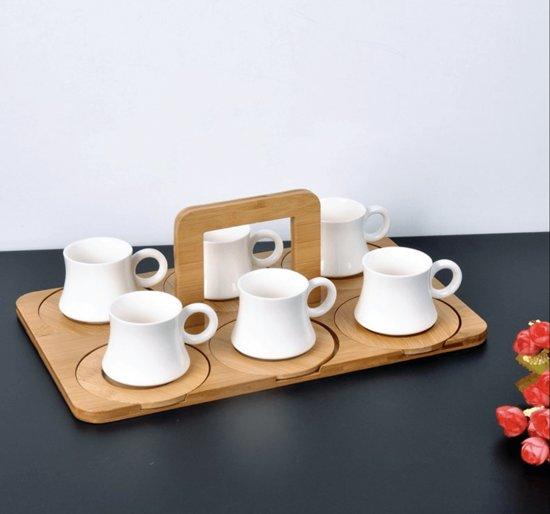 Bamboe porselein espresso set (6x)