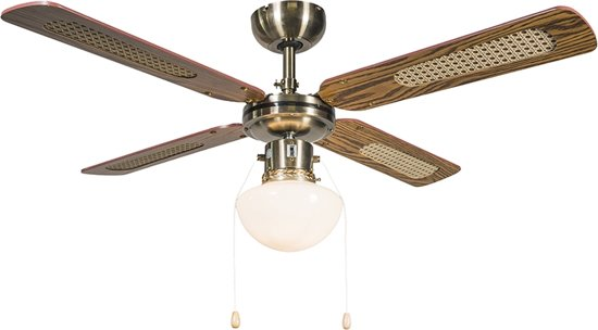 QAZQA Wind 42 - Plafond ventilator met lamp - 1 Lichts - brons