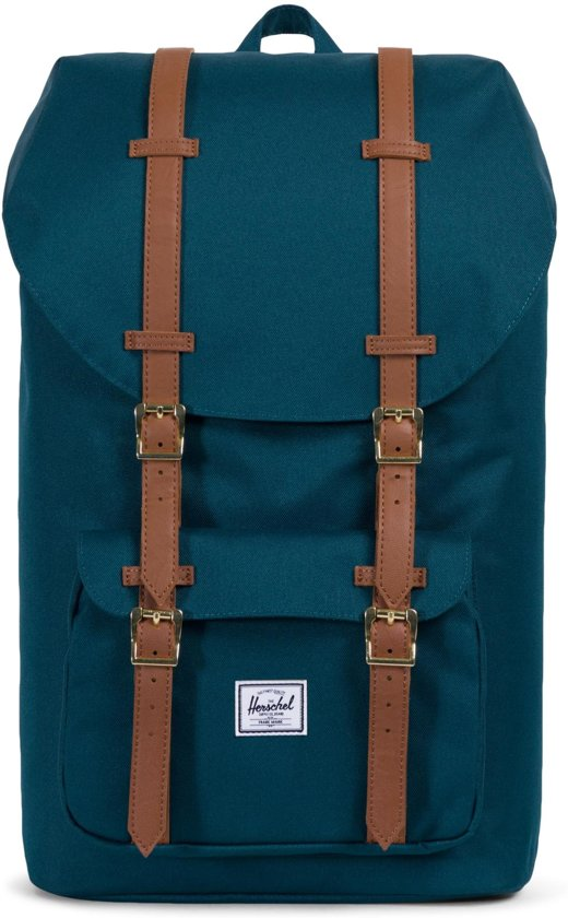 Herschel Supply Co. Little America Rugzak - Deep Teal / Tan Synthetic Leather