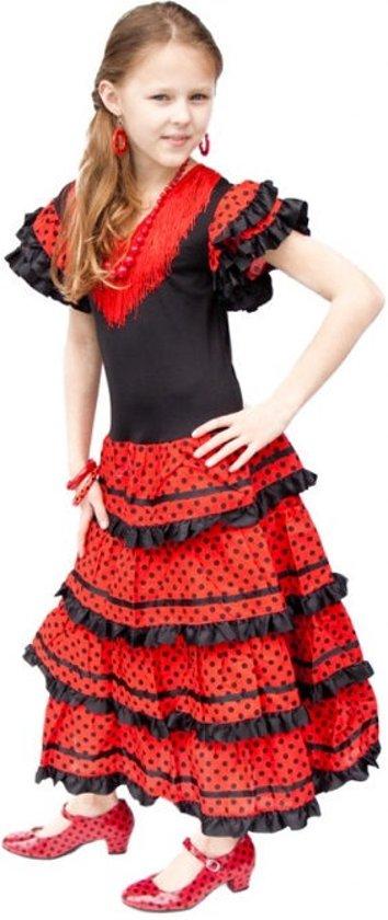 Spaanse jurk - Flamenco - Zwart/Rood - Maat 140/146 (12) - Verkleed jurk