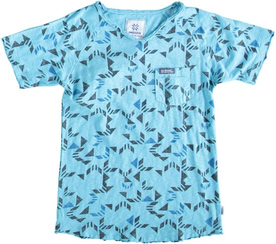 Indian blue stevig blauw t-shirt - Maat 140