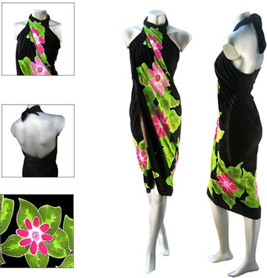 f3090c42c5de6e Zwarte Sarong Rayon Bloemen Roze