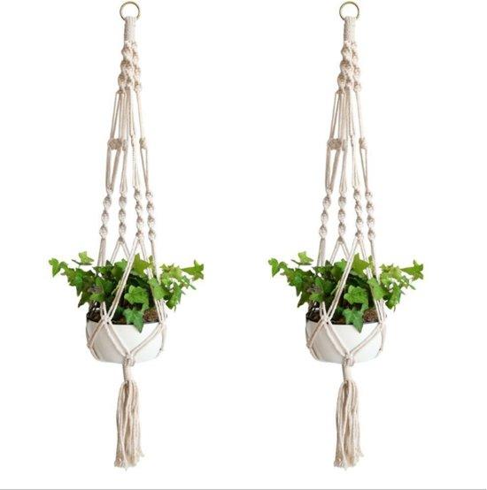 Macramé Plantenhanger - 2 stuks - 100% katoen - Voor binnen en buiten -  Wit