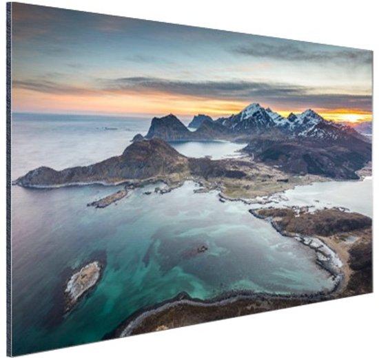Fjorden bij zonsopkomst in Noorwegen Aluminium 90x60 cm - Foto print op Aluminium (metaal wanddecoratie)