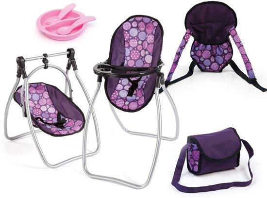 Poppen Kinderstoel 9 in 1 set - Paars - Poppenaccessoires