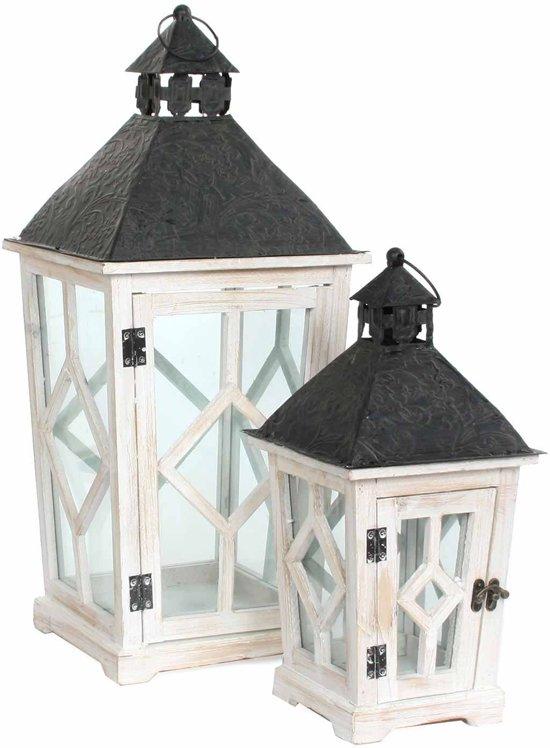 Mica Decorations - Lantaarn Nosta 64 cm hoog - Wit (Set van 2)
