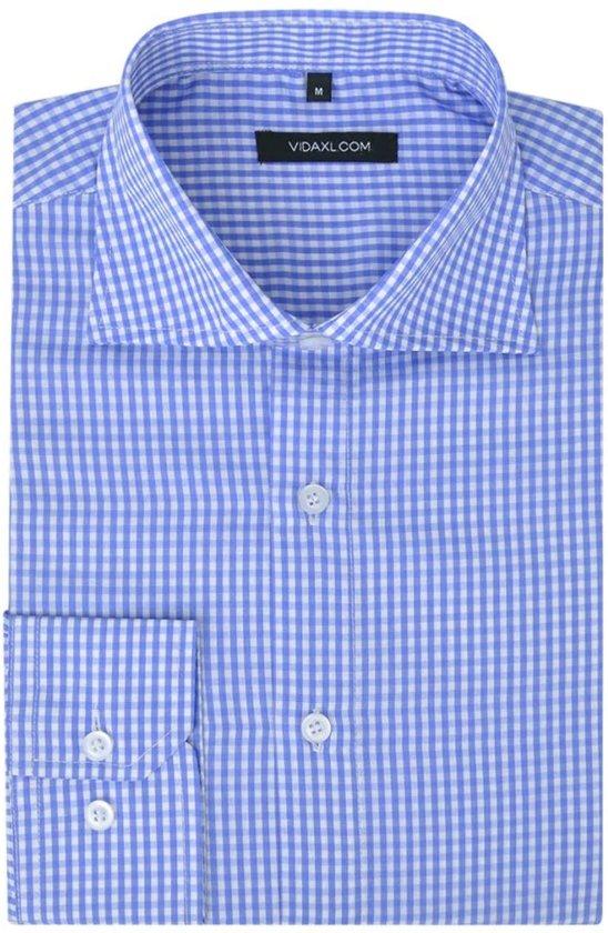 Maat Overhemd Heren.Bol Com Vidaxl Zakelijk Overhemd Heren Wit En Lichtblauw Geblokt