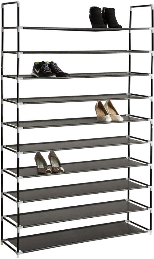 TecTake - metalen schoenenrek, 10 niveaus, 30 paar schoenen - 402106