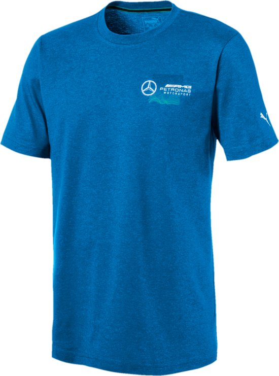 PUMA Mercedes AMG Logo Tee + Shirt Heren - Indigo Bunting Heather
