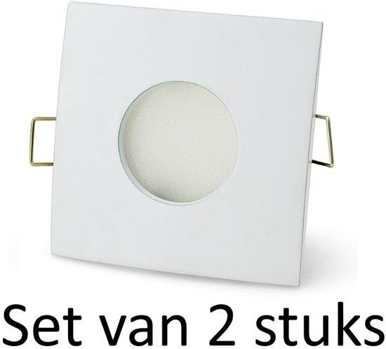 IP44 Philips inbouwspot | Extra warm wit | Wit vierkant | Set van 2 stuks