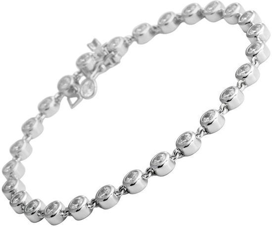 Diamonfire - Zilveren tennisarmband 19 cm - Zirkonia in kastzetting met tussenoog