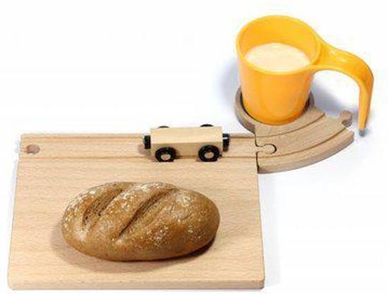 Treinrails ontbijtset gele beker