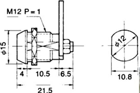 Brievenbus slot - Ø12mm / 21,5 mm - twee sleutels
