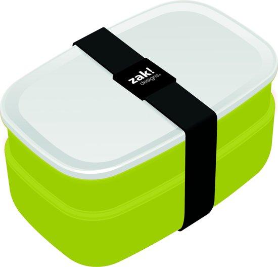 Zak!Designs Lunchbox - Incl. Bestekset - Groen-Wit