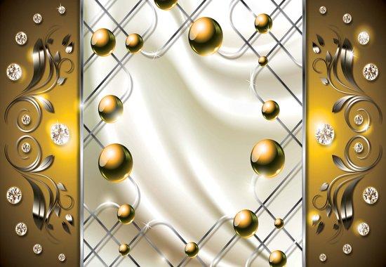 Fotobehang Yellow Diamond Abstract Modern | XXL - 312cm x 219cm | 130g/m2 Vlies