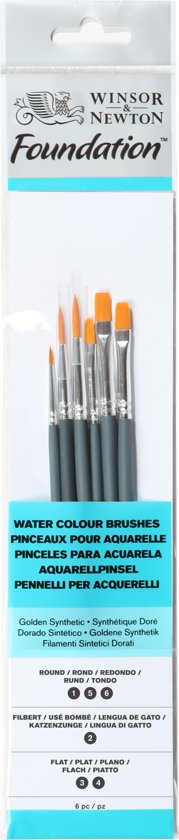 Winsor & Newton Foundation aquarel korte penselen set 6 delig