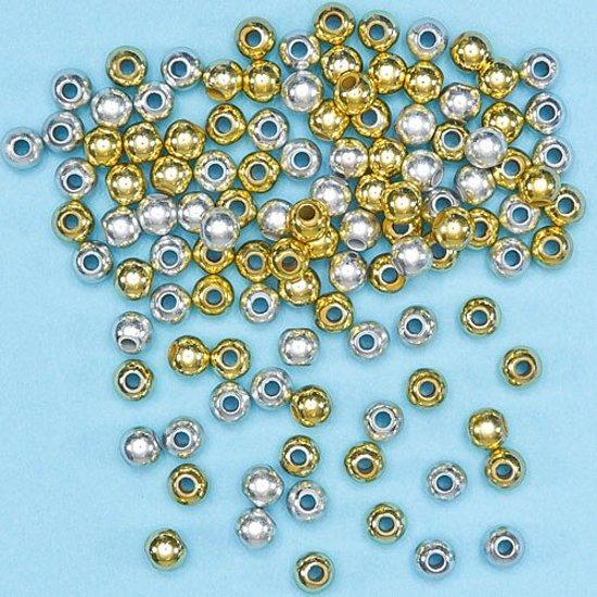 Goud- en zilverkleurige tussenkralen  (450 stuks per verpakking)