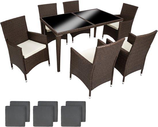 Bol tectake wicker tuinset stoelen met tafel bruin
