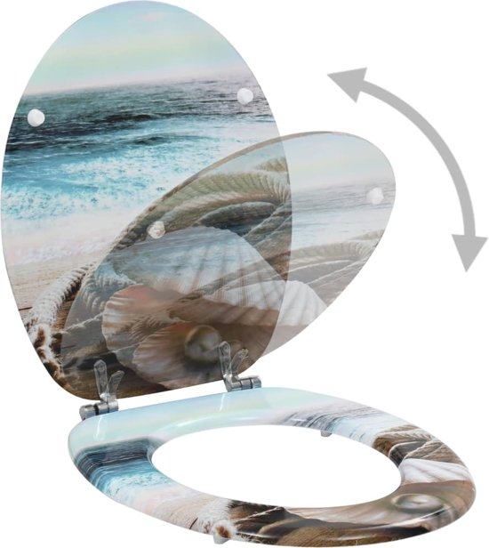 vidaXL Toiletbrillen 2 st met hard-close deksels MDF mosselontwerp