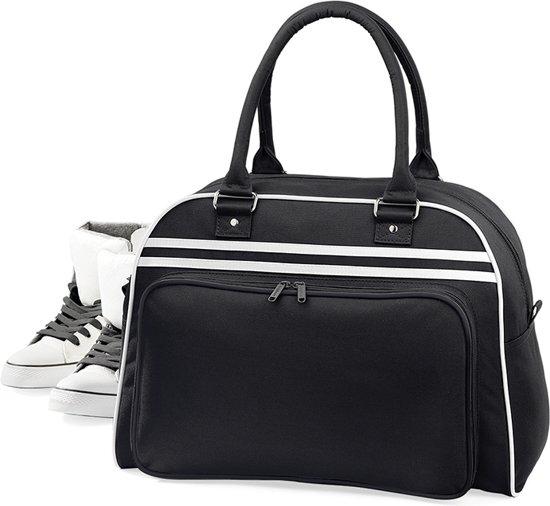 Bagbase Retro bowlingtas, Kleur Black/ White