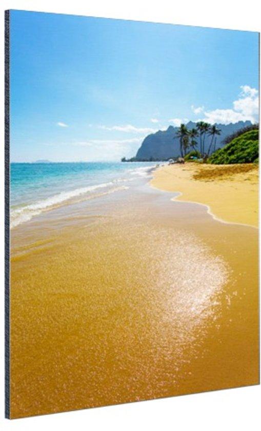 Kaaawa Beach in de stille oceaan Aluminium 60x90 cm - Foto print op Aluminium (metaal wanddecoratie)