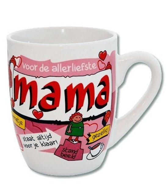 Verjaardag - Cartoon Mok -Voor de allerliefste mama - Gevuld met een verpakte toffeemix - In cadeauverpakking met gekleurd krullint