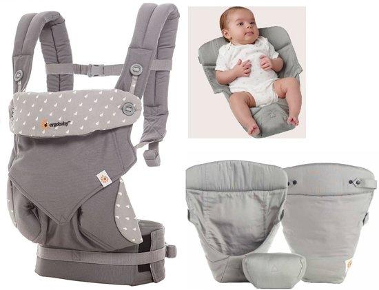 Ergobaby Geboortepakket: babydraagzak 360 Dewy grey incl. verkleinkussen Original grey