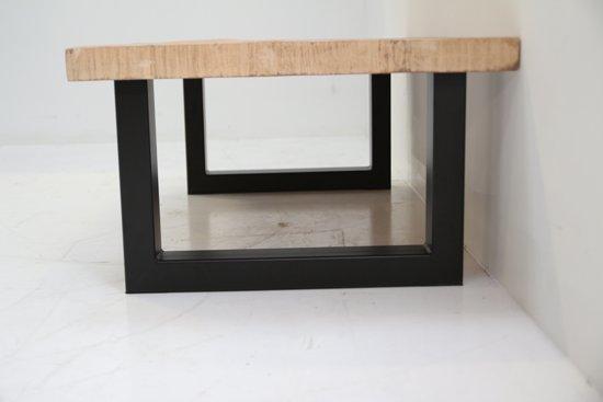Salon Tafel Massief.Salontafel Rechthoek In Massief Mangohout En Zwart Metalen U Poten Umani