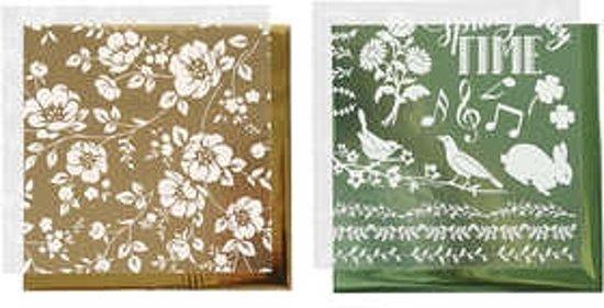 Deco folie en transfervel vel 15x15 cm groen goud bloemen 2x2vellen