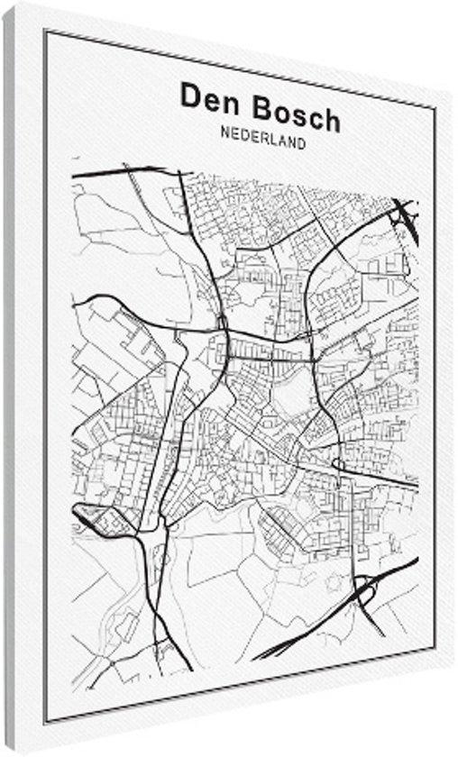 Stadskaart klein - Den Bosch canvas 30x40 cm - Plattegrond