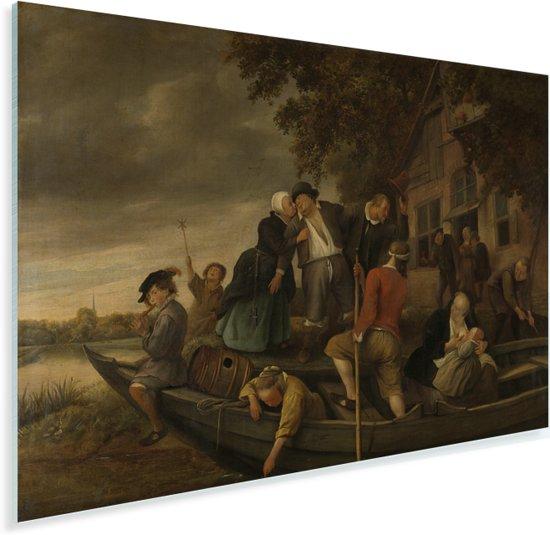 Het vrolijk huiswaartskeren - Schilderij van Jan Steen Plexiglas 90x60 cm - Foto print op Glas (Plexiglas wanddecoratie)