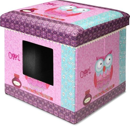 Bol ebi ottoman kattenmand poef uil roze met kussen x