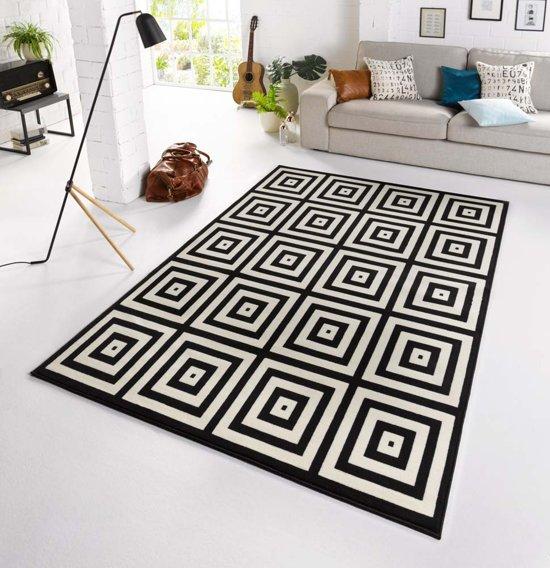 Design vloerkleed geblokt Mono - zwart/crème 160x230 cm